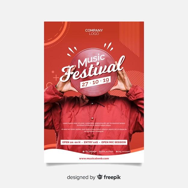 Plakat festiwal streszczenie muzyki ze zdjęciem Darmowych Wektorów