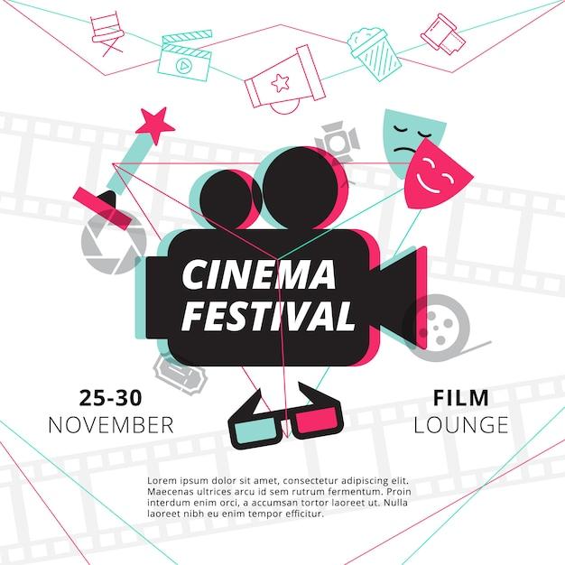 Plakat festiwalu kina z sylwetką kamery w centrum i atrybutów przemysłu filmowego Darmowych Wektorów