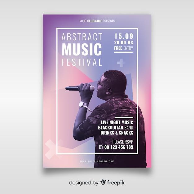 Plakat festiwalu muzycznego ze zdjęciem Darmowych Wektorów