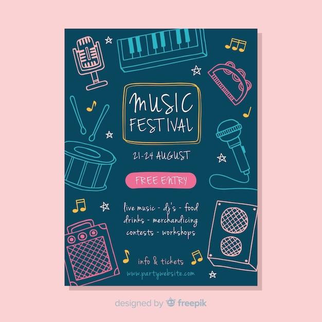 Plakat Festiwalu Muzycznego Darmowych Wektorów