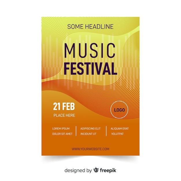 Plakat festiwalu muzyki abstrakcyjnej Darmowych Wektorów