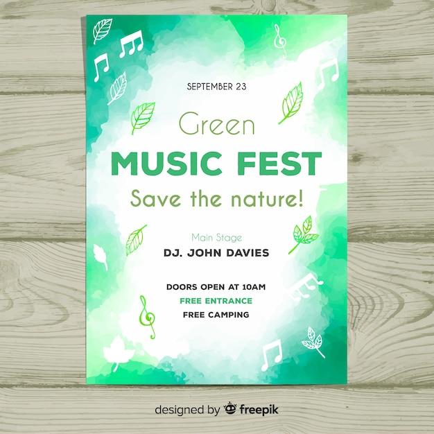 Plakat festiwalu muzyki akwarelowej Darmowych Wektorów