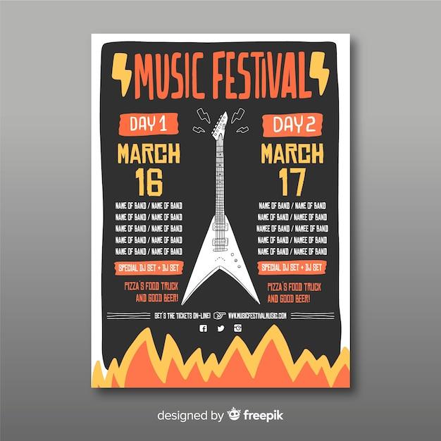 Plakat festiwalu muzyki gitarowej Darmowych Wektorów