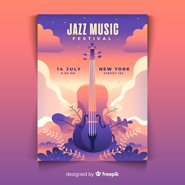 Plakat Festiwalu Muzyki Gradientowej Ilustracji Darmowych Wektorów