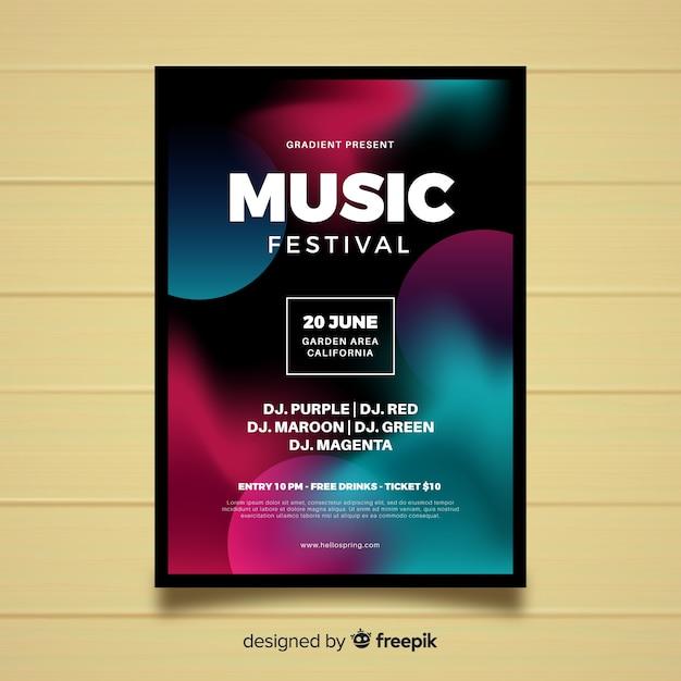 Plakat festiwalu muzyki gradientowej Darmowych Wektorów