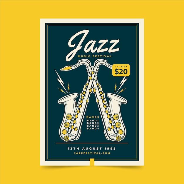 Plakat Festiwalu Muzyki Jazzowej Darmowych Wektorów