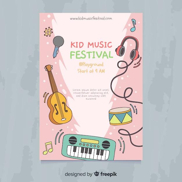 Plakat Festiwalu Muzyki Kid Darmowych Wektorów