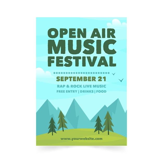 Plakat Festiwalu Muzyki Na świeżym Powietrzu Darmowych Wektorów