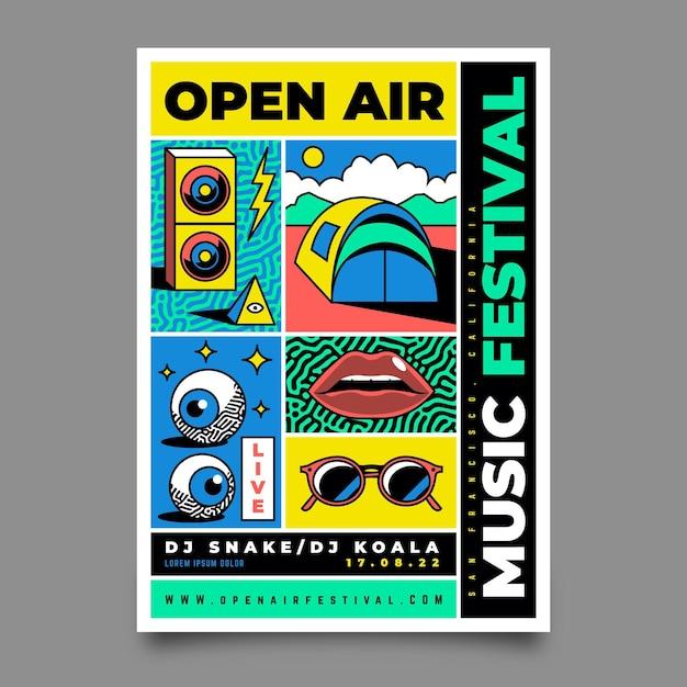 Plakat Festiwalu Muzyki Na Zewnątrz Darmowych Wektorów