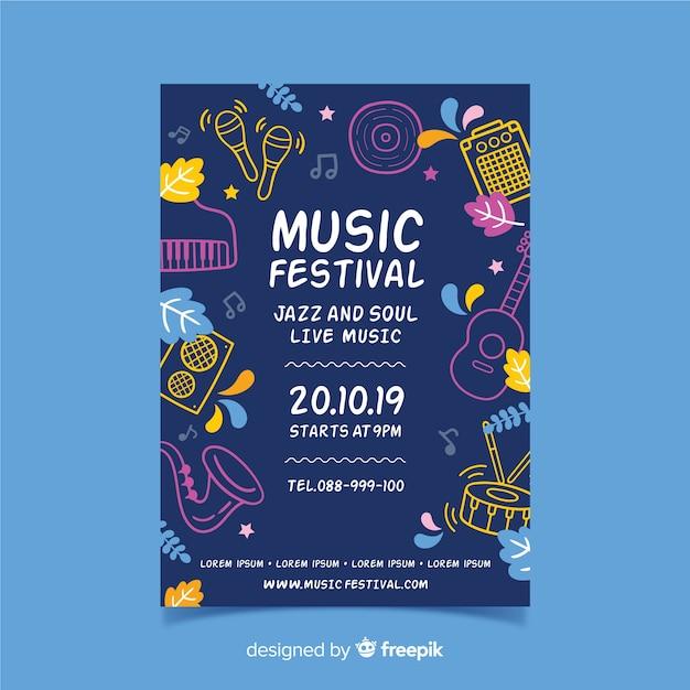 Plakat festiwalu muzyki sylwetki instrumentów Darmowych Wektorów