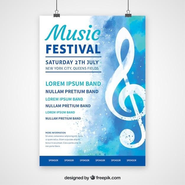 Plakat festiwalu muzyki w stylu płaski Darmowych Wektorów