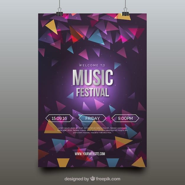 Plakat festiwalu muzyki współczesnej z geometrycznymi postaciami Darmowych Wektorów