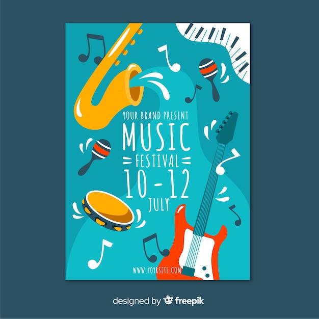 Plakat Festiwalu Muzyki Wyciągnąć Rękę Darmowych Wektorów