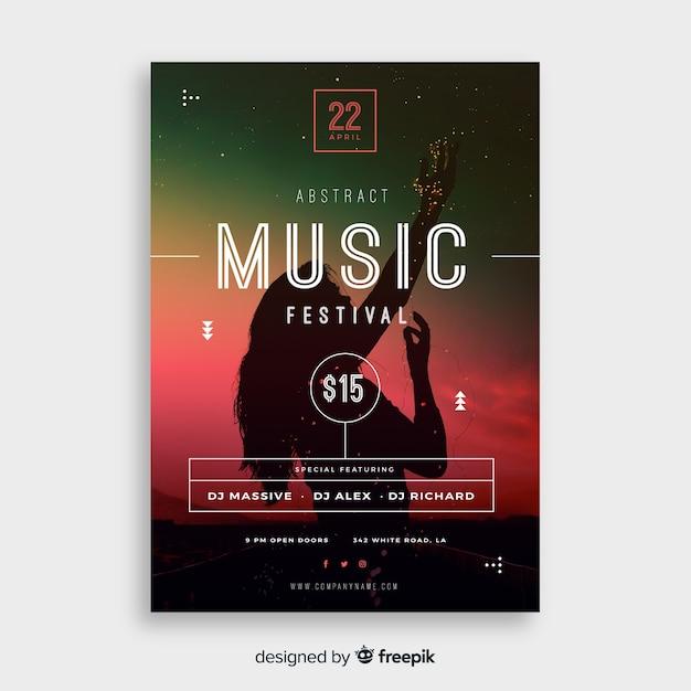 Plakat festiwalu muzyki Darmowych Wektorów