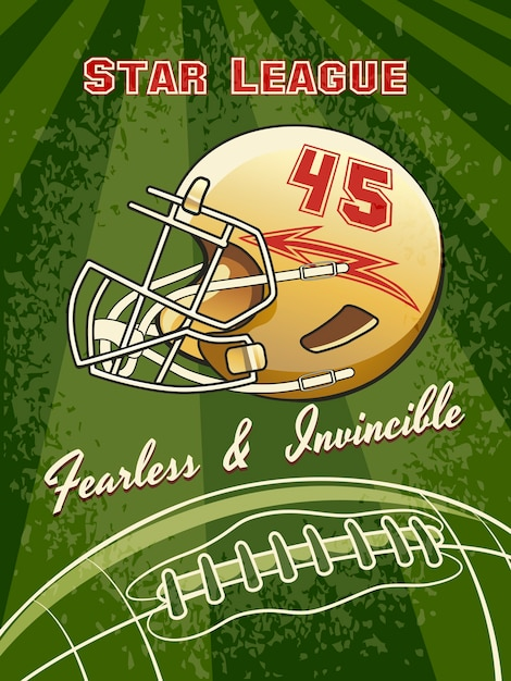 Plakat Futbolowy Ligi Gwiazd Z Kaskiem I Boiskiem Do Piłki Nożnej Darmowych Wektorów