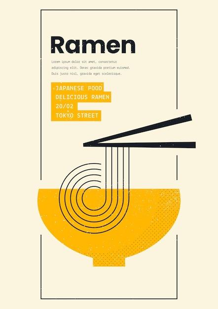 Plakat Geometryczny Szablon Wydruku Zupy Ramen Premium Wektorów
