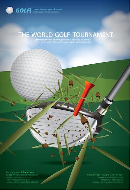 Plakat golf mistrzostwa wektorowego ilustracja Premium Wektorów