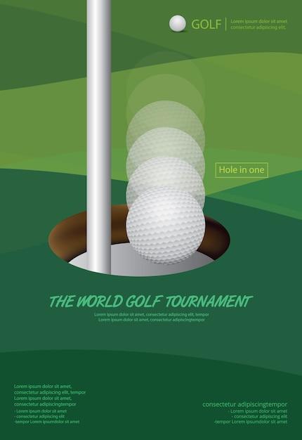 Plakat golfowy wektorowa ilustracja Premium Wektorów