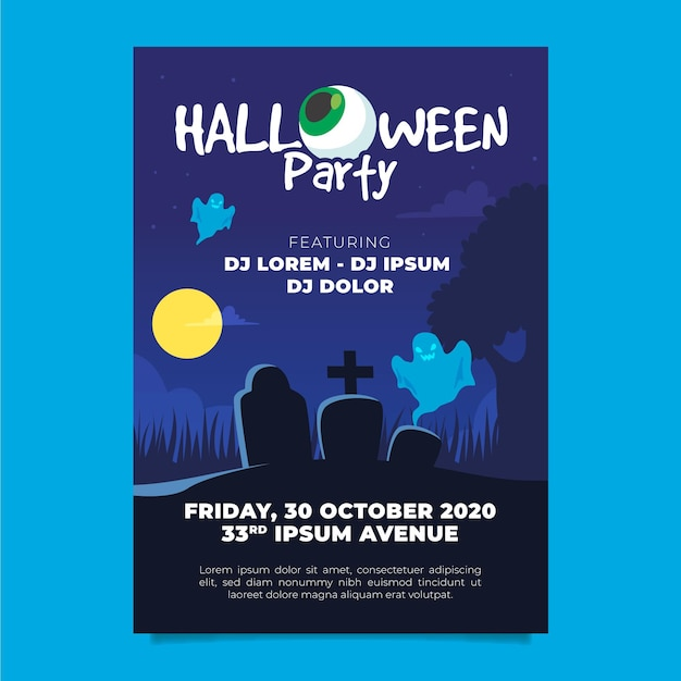 Plakat Halloweenowy W Płaskiej Konstrukcji Darmowych Wektorów