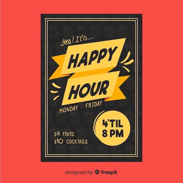 Plakat happy hour dla restauracji Darmowych Wektorów