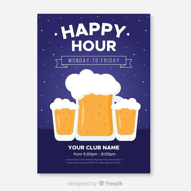 Plakat happy hour z kufle do piwa Darmowych Wektorów