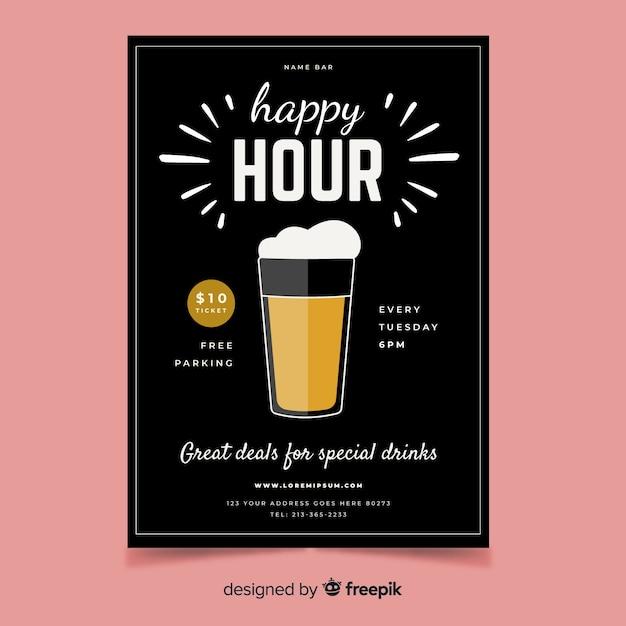Plakat happy hour z kuflem piwa Darmowych Wektorów