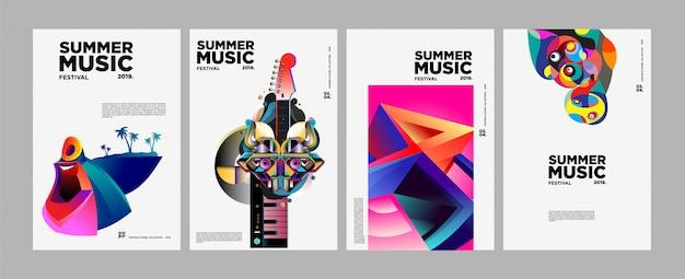 Plakat i okładka festiwalu kolorowej sztuki i muzyki letniej Premium Wektorów