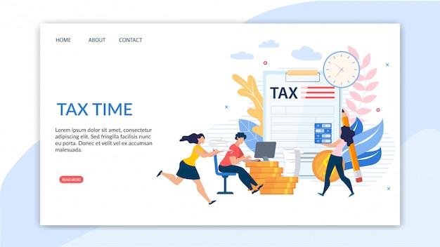 Plakat informacyjny napisany jest czasem podatkowym Premium Wektorów