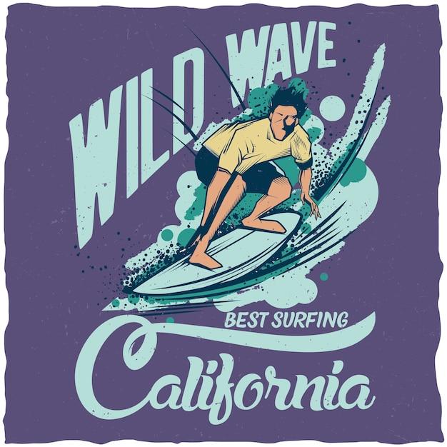 Plakat Kalifornii Dzikiej Fali Darmowych Wektorów