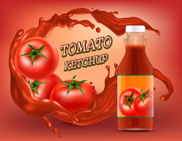 Plakat ketchupu w plastikowej lub szklanej butelce z pluskiem rozdrobnionego pomidora Darmowych Wektorów