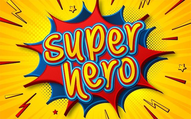 Plakat komiksowy superbohatera w stylu pop-art Premium Wektorów