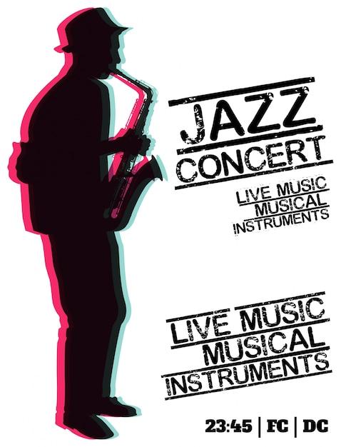 Plakat Koncertu Jazzowego Wektor Premium Pobieranie