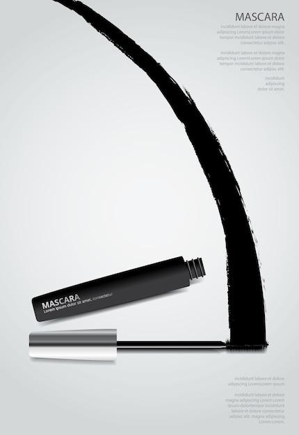 Plakat kosmetyczny tusz do rzęs z ilustracji wektorowych opakowań Premium Wektorów