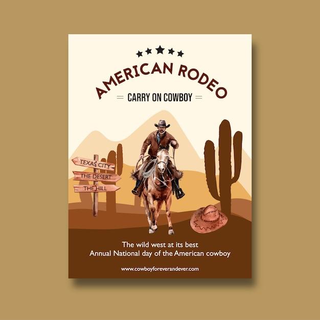 Plakat kowbojski z amerykańskim rodeo Darmowych Wektorów