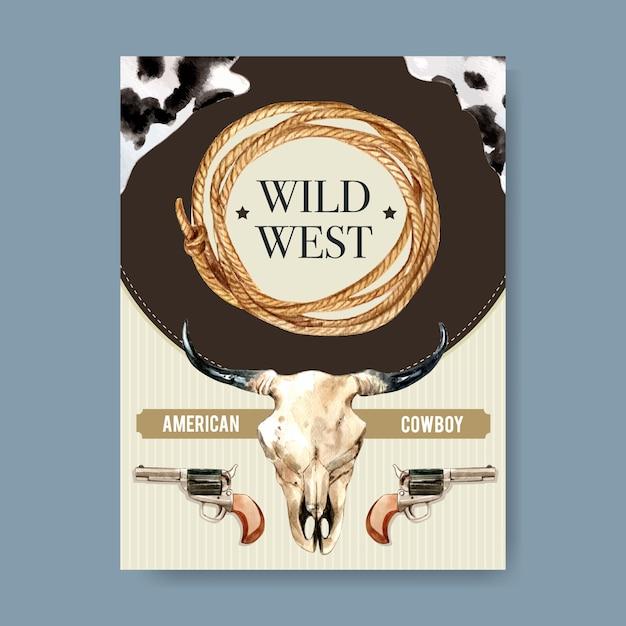 Plakat kowbojski z czaszką krowy, rewolwer Darmowych Wektorów