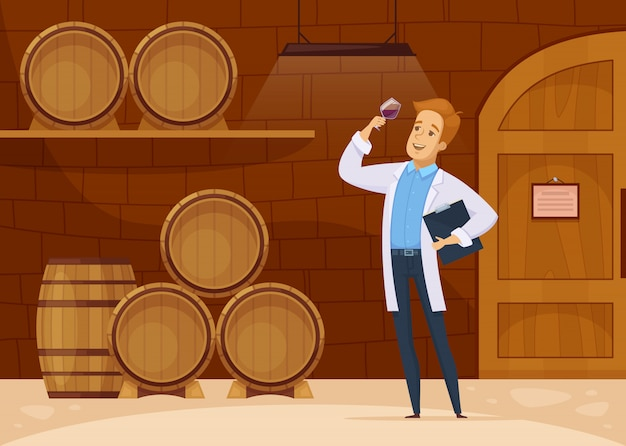 Plakat kreskówka piwnicy do przechowywania win Darmowych Wektorów