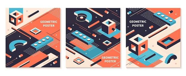 Plakat Kształty Izometryczne. Abstrakcyjne Broszury Geometryczne, Tła Futurystycznej Technologii. Zestaw Okładek Izometrycznych Kolorów Graficznych Premium Wektorów