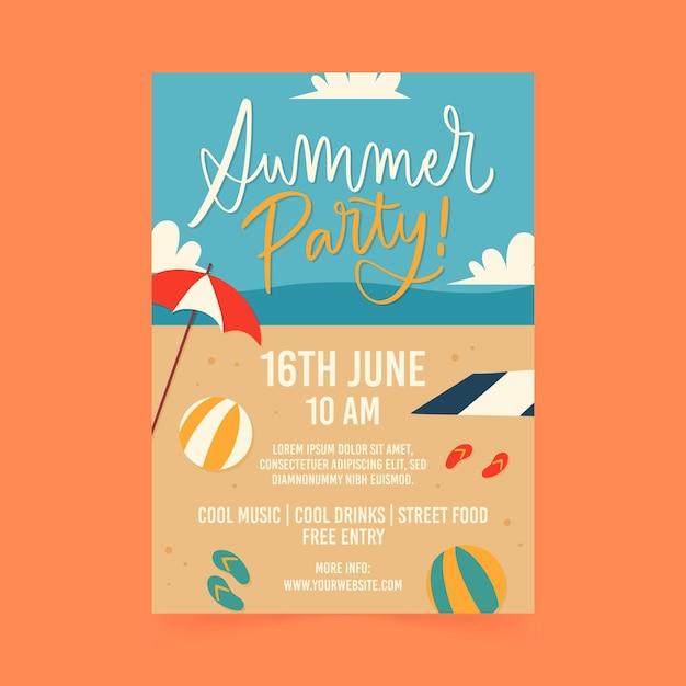 Plakat Letniej Imprezy Darmowych Wektorów