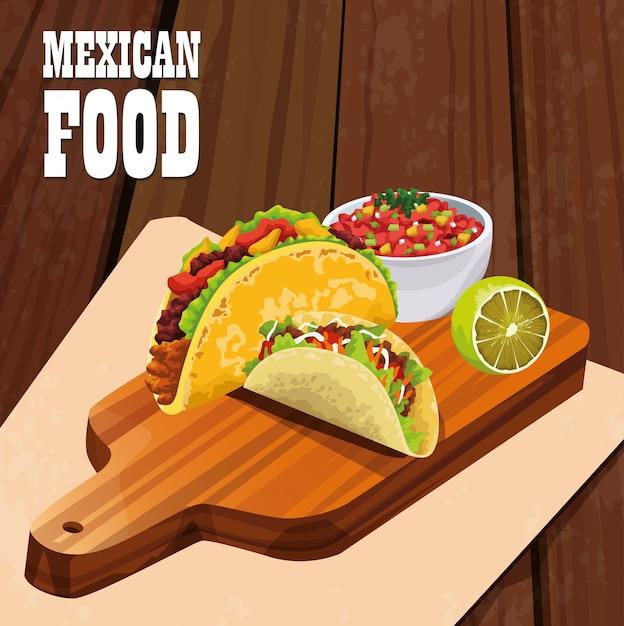 Plakat meksykańskie jedzenie z tacos Premium Wektorów