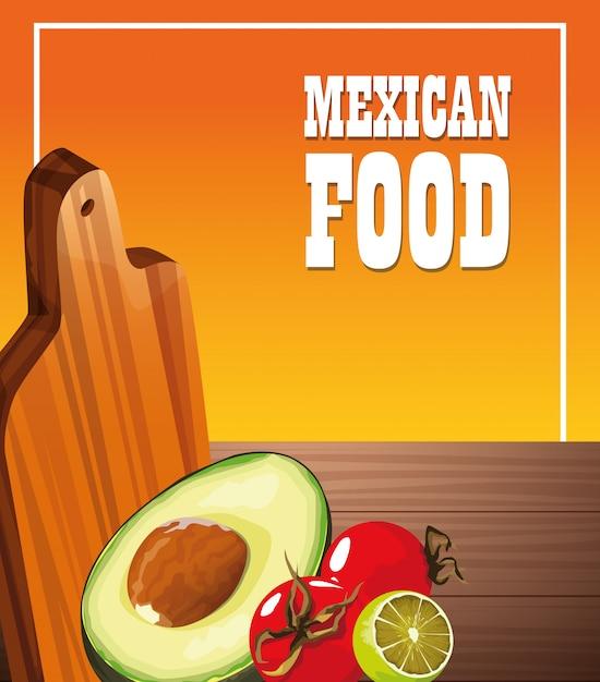 Plakat meksykańskie jedzenie z warzywami Premium Wektorów