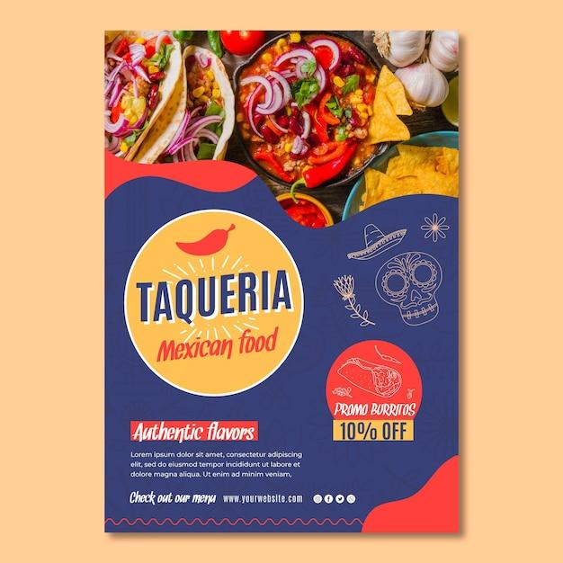 Plakat Meksykańskiej Restauracji Premium Wektorów