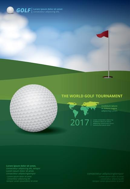 Plakat mistrzostwa golfowego mistrzostwa ilustracji Premium Wektorów