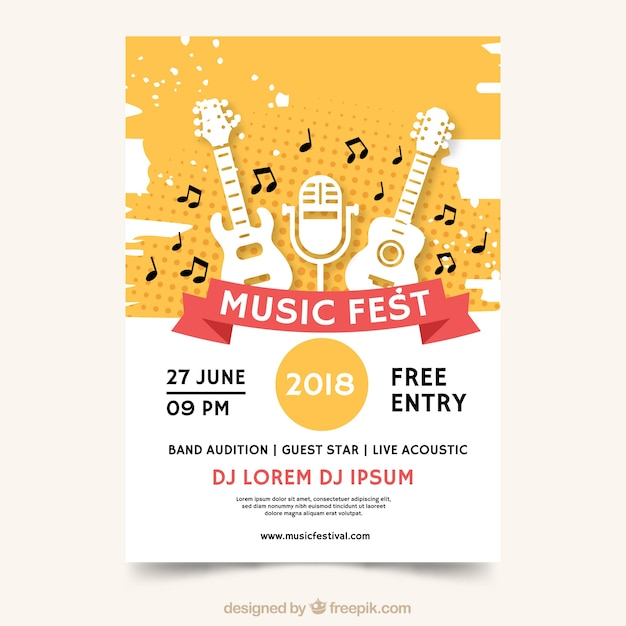 Plakat muzyczny fest Darmowych Wektorów