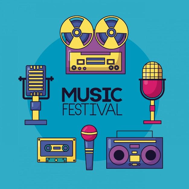 Plakat Muzyczny Festiwalu Darmowych Wektorów