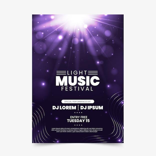 Plakat muzyczny z efektem świetlnym Darmowych Wektorów