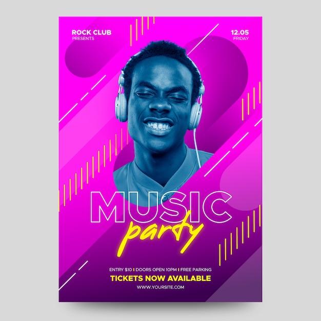 Plakat Muzyczny Ze Zdjęciem Darmowych Wektorów