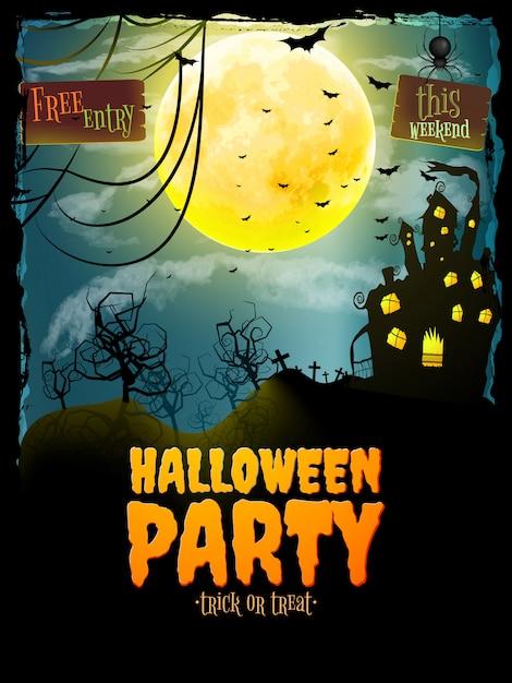 Plakat Na Halloween. ścigany Dom Na Upiornym Cmentarzu. Premium Wektorów