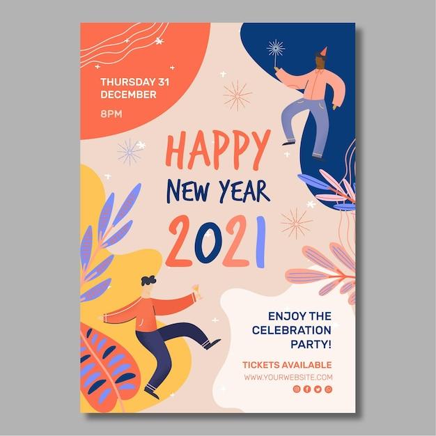 Plakat Na Nowy Rok 2021 A4 Darmowych Wektorów