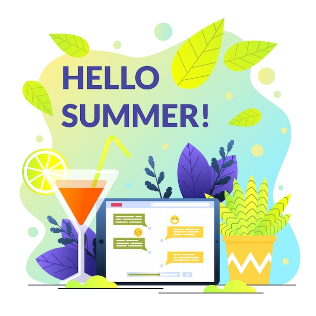 Plakat Napisany Cześć Lato Na Tle Koktajl Premium Wektorów