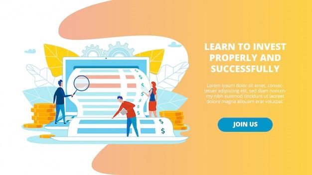 Plakat Naucz Się Inwestować Właściwie I Skutecznie. Premium Wektorów